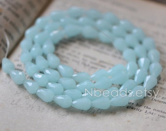 85pcs Teardrop Crystal Glass Faceted Beads 8x11mm,  Baby Blue- SS0835