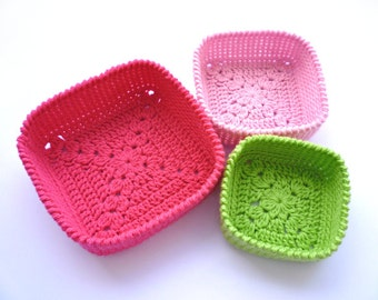 Crochet Basket Pattern, Crochet Square Basket, Crochet Pattern 005, Instant Download