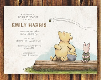 Classic winnie the pooh and piglet card instant download 3 classic winnie the pooh baby shower invitationfree shipping baby shower first birthday filmwisefo Choice Image