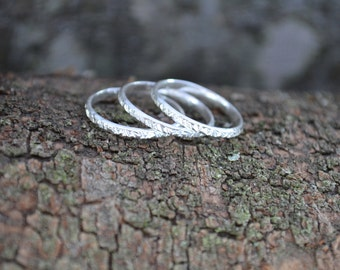 Sterling Silver Rings | Set Of 3 | Anniversary Gifts | Girlfriend Gift | Gift For Women | Stackable Rings | Vertical Hammered | Bridesmaids