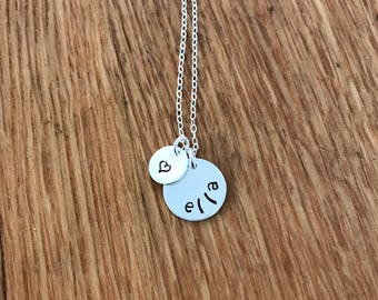Sterling Silver Name and Heart Necklace, Personalized Name Necklace, Heart Necklace, Custom Name Necklace, Mother's Day Gift