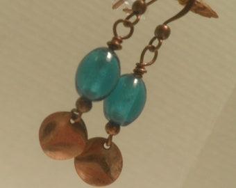 turquoise Glass and Copper Earrings, dangle earrings