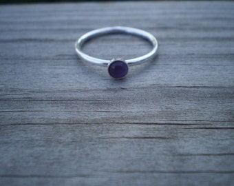 Amethyst Stacking Ring, Sterling Silver, Size 8