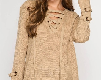 Lace Up Sweater!