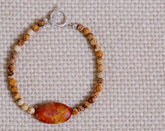 Red Creek Jasper beaded bracelet, sterling silver toggle clasp