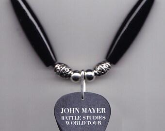 John Mayer Signature Kaws Black Guitar Pick Necklace - 2010 Battle Studies Tour