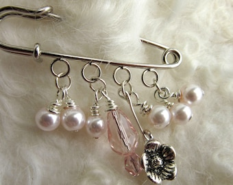Pink Shawl Pin - Scarf Pin - Sweater Pin - Beaded Brooch - Pink Pearl