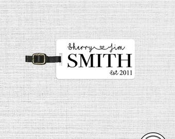 Luggage Tag First Last Name Wedding or Special Date Luggage Tag - Single Tag