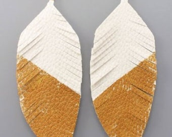 White & Gold Leather Feather Earrings