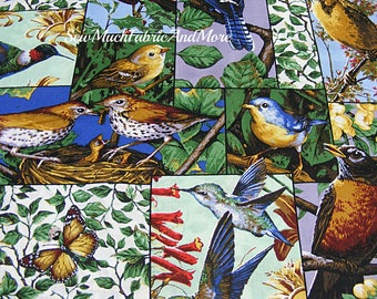 Backyard Birds Collage Patch Fabric By The Yd U0026 1/2 Yd Cardinals