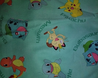 Pokemon Mint Green Teal Pikachu, Squirtle, Meowth,  Charmander,  Character Name Cotton 1 Yard Fabric