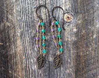 Gemstone earrings - dangle earrings - charm earrings - bohemian earrings