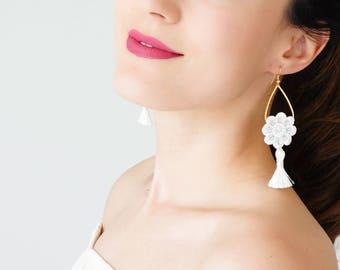 Statement Jewelry Tassel Earrings Summer Trends White Earrings Tassel Jewelry Statement Jewelry Dangle Earrings Inspirational/ GALINA