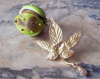 Chestnut. Handmade Lampwork Pendant. Lampwork Glass Chestnut, Gold Chestnut Leaf. Autumn Lampwork Pendant. Gift for Mom. Made to order.
