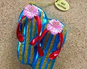 Blown Glass Flip Flop Mele Kalikimaka Christmas Ornament