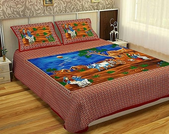 Traditional Indian print King size bed sheet