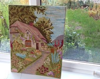Vintage Tapestry of a Cottage Rural Scene Garden Flowers