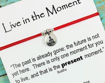 Buddha Charm Bracelet | Friendship Bracelet | Live in the Moment Card |  BFF Gift | Buddha Yoga Bracelet | Mindfulness Gift