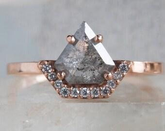 Geometric Rose Cut Salt and Pepper Diamond Ring with Half Pave Diamond Halo