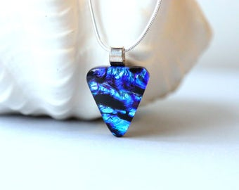 Necklace Pendant in Blue Green Dichroic Fused Glass 001268, GetGlassy
