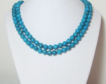 Long Turquoise Necklace, Beaded Necklace, Round Blue Beads