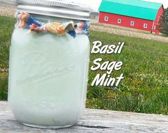Basil Sage & Mint Soy Candle in 16 oz Jar
