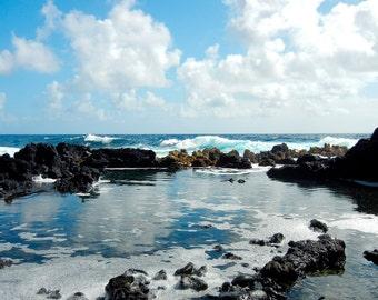Blue Hawaii Ocean Photography - Photo Greeting Card - Fine Art Photography -  Lava Tide Pool - Blank Card - Scenic Hawaiian Ocean Note Card