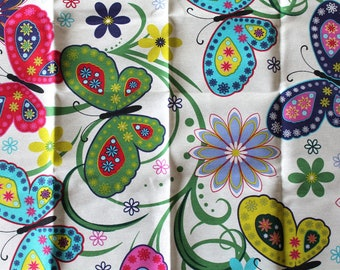 Coupon fabric upholstery butterflies 68 x 50 cm