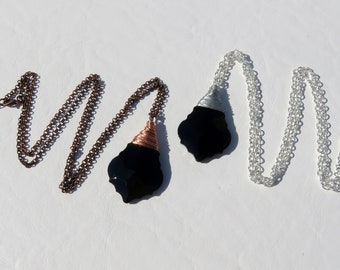 Wire Wrapped Vintage Black Prism Necklace // Black French Cut Crystal Prism Necklace // Rare Chandelier Crystal Necklace