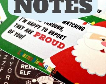 Printable Lunchbox Notes Activities Puzzles for Kids Christmas December Santa Reindeer Polar Bear Elf