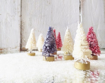"""Patriotic Bottle Brush Trees ~ 1"""" to 1.5""""  Memorial Day, 4th of July Decor ~ Putz House ~ 12 Ct. Trees ~ Fairy Garden ~ Craft Supplies"""