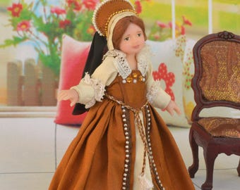 Miniature Doll Polymer Clay Baby girl  Doll   Realistic  Collectible Dollhouse    The Tudors doll 12th scale  Dollhouse