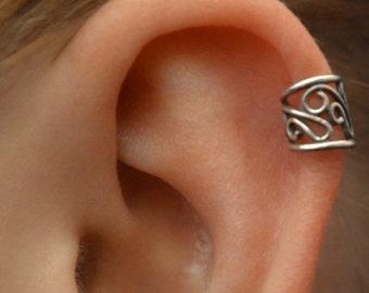 Ear Cuff - Filigree - Helix Earring - Cartilage Earring - Ear Wrap - Non Pierced - Silver Ear Cuff - Fake Piercing - Gold Ear Cuff - Earcuff