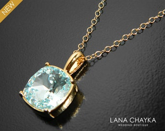 Ice Blue Gold Crystal Necklace, Swarovski Light Azore Square Necklace, Pale Ice Blue Wedding Necklace, Ice Blue Bridal Bridesmaids Jewelry