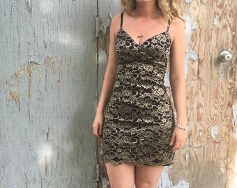 Vintage lace minidress / 90s lace dress / 90s minidress / lace dress / black gold dress