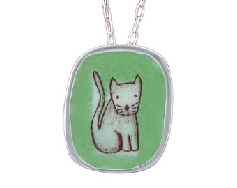Cat Necklace - Sterling Silver and Vitreous Enamel Cat Pendant