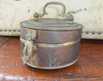 Antique Brass Round Trinket Box Lidded Clasp India Tin Treasures Handmade