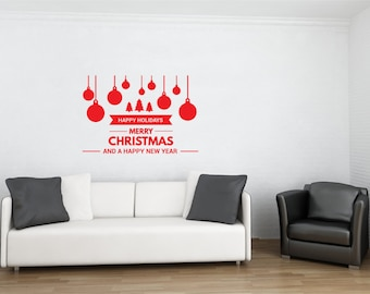 Christmas Ornaments Decal | Merry Christmas Decal | Christmas Wall Stickers and Decals