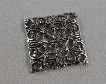 LuxeOrnaments Sterling Silver Plated Brass Square Filigree Connector Focal (Qty 2) 20x20mm S-9172-S
