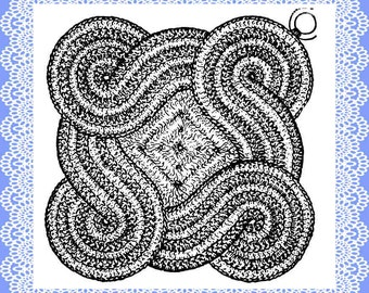 Vintage Crochet Potholder pattern Scroll Design 1949 Downloadable PDF