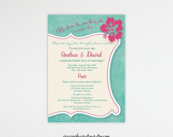 Vow Renewal Invitation, Anniversary, 5th, 15th, 20th, 25th, 35th, 40th, Wedding Invitation, Invite, Post Wedding, Hawaiian, Beach, V22751