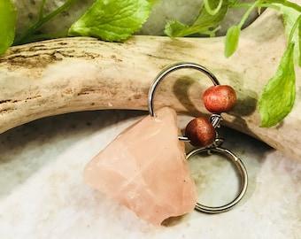 Rose quartz keychain