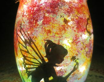Flower Fairy Sunset Silhouette Lantern/Hand Painted Lantern/Glass Lantern/Silhouette Lantern/Lantern Home Decor/Light Decor/Night Light