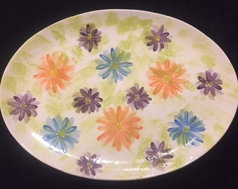 Platter with Bright Flowers