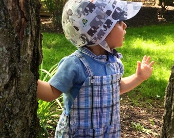 UB2 ORGANIC STOMP! adorable elephants in gray grey and blue, teal turquoise, baby boy newsboy sun hat, boy sun bonnet, The Urban Baby Bonnet