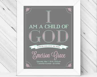 I am a child of God print | LDS nursery art girls | gray, mint, pink nursery decor | personalized baby girl gift | religious nursery art
