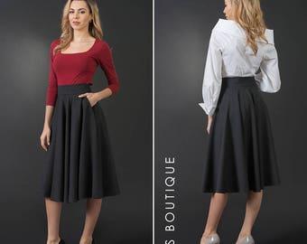 New flared grey woman skirt, elegant knee length skirt, plus / large sizes, wool winter skirt, A-line skirt, maxi woman skirt, high-waist