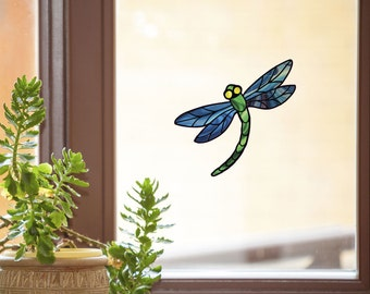 """CLR:WND - Dragonfly Stained Glass - D3 - See-Through Vinyl Window Decal - © 2015 YYDC (5.75""""w x 5.25"""") (Color Choices)"""