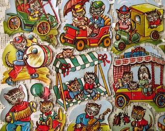 Vintage EAS Germany Die Cut Paper Scraps Anthropomorphic Cats  EAS 3177