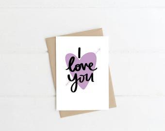I Love You Greeting Card, Love Blank Card